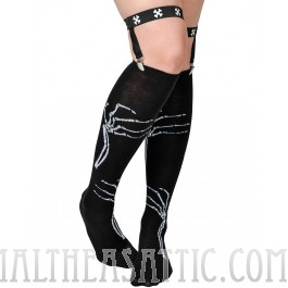 Clawing Skeleton Hand Garter Socks