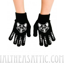 Witchy Woman Black Cat & Phases Moon Knit Stretch Gloves
