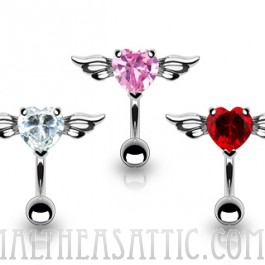 Top Down Angel Winged 8mm Heart