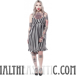 Sourpuss Hi-lo Dolly Dress Black and White