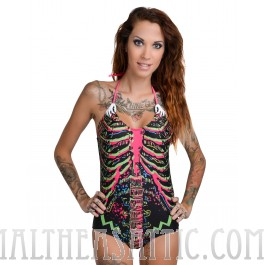 Electric Skeleton Monokini Bathing Suit