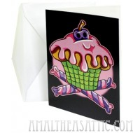 Skull Cake Cupcake Birthday Card