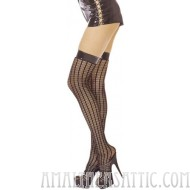 Seamless Crochet Vinyl Top Thigh High Stockings