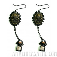 Poison Bottle Skull Cameo Gothic Earrings