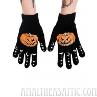 Pumpkin Halloween Bats Knuckle Tattoo Knit Stretch Black Gloves