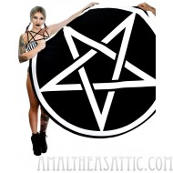 Pentagram Round Goth Beach Towel