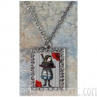Alice in Wonderland Alice with a Cake Art Necklace