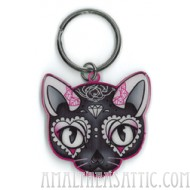Miss Cherry Martini Pink Cat Key Chain