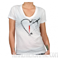 Switchblade Heart V Neck Tee Shirt