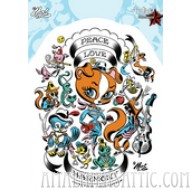 Mitch O'Connell Peace Love Sticker
